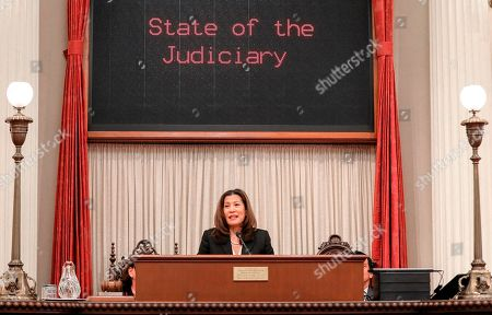 In this photo provided by the Judicial Council of California, California Chief Justice Tani Cantil-Sakauye delivers her State of the Judiciary address before a joint session of the Legislature at the Capitol in Sacramento, Calif., . California's chief justice is praising the racial and gender diversity of judges appointed to the state courts by former Gov. Jerry Brown. Tani Cantil-Sakauye said during her annual address to California lawmakers that Brown had breathed new life into the courts