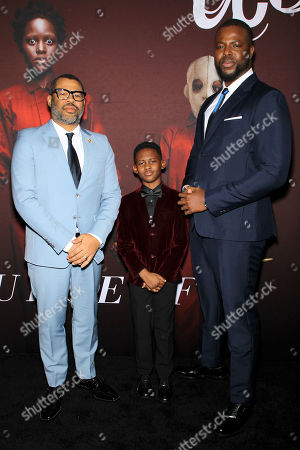 Jordan Peele (Director), Evan Alex, Winston Duke, Ron Meyer (Vice Chairman, NBC Universal)