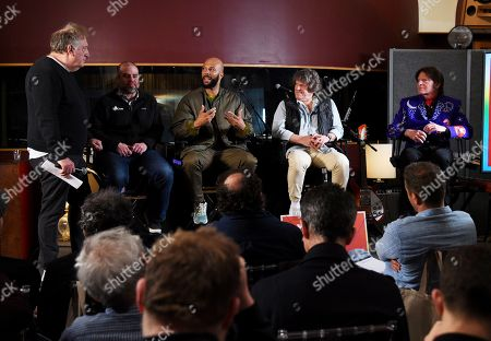 Stock Picture of Alan Zweibel, Andy Bernstein, Common, Michael Lang, John Fogerty. Comedy writer Alan Zweibel, from left, HeadCount executive director Andy Bernstein, hip hop recording artist Common, left, Woodstock co-producer and co-founder, Michael Lang and musician John Fogerty participate in the Woodstock 50 lineup announcement at Electric Lady Studios, in New York