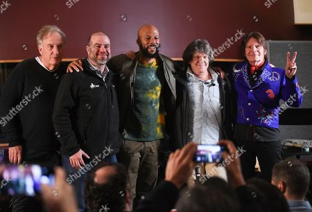 Alan Zweibel, Andy Bernstein, Common, Michael Lang, John Fogerty. Comedy writer Alan Zweibel, left, HeadCount executive director Andy Bernstein, hip hop recording artist Common, left, Woodstock co-producer and co-founder, Michael Lang and musician John Fogerty participate in the Woodstock 50 lineup announcement at Electric Lady Studios, in New York
