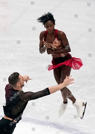 Vanessa James (R) and Morgan Cipres (L) of France perform during the Pairs Short Program event of the 2019 ISU World Figure Skating Championships in Saitama, Japan, 20 March 2019.