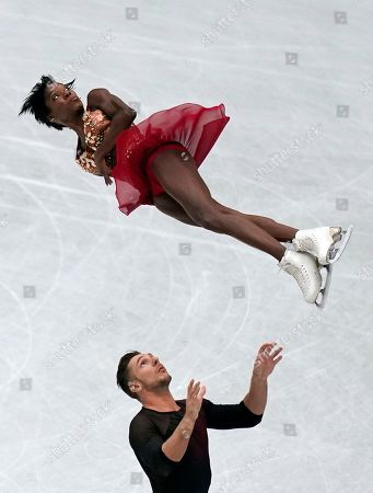 Vanessa James (top) and Morgan Cipres (bottom) of France perform during the Pairs Short Program event of the 2019 ISU World Figure Skating Championships in Saitama, Japan, 20 March 2019.