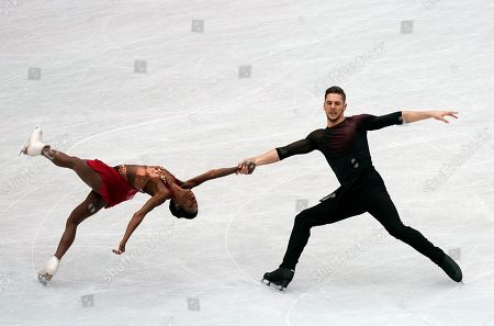 Vanessa James (L) and Morgan Cipres (R) of France perform during the Pairs Short Program event of the 2019 ISU World Figure Skating Championships in Saitama, Japan, 20 March 2019.