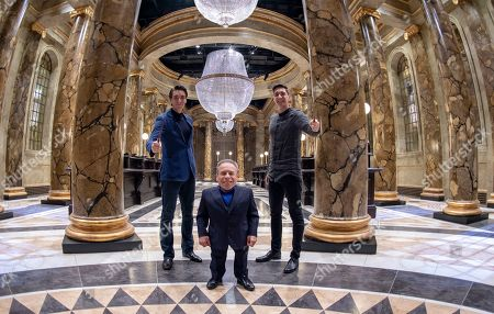 Oliver Phelps, Warwick Davis and James Phelps in the original Gringotts Wizarding Bank set at Warner Bros. Studio Tour London in Watford.