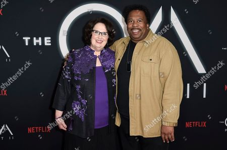 "Stock Image of Leslie David Baker, Phyllis Smith. Leslie David Baker, left, and Phyllis Smith attend the LA premiere of ""The OA"" Season 2 at the Los Angeles County Museum of Art, in Los Angeles"