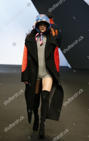 Stock Image of A model exhibits a creation by South Korean designer Park Youn-Soo of BIG PARK during the Fall/Winter 2019 Seoul Fashion Week at the Dongdaemun design Plaza in Seoul, South Korea, 20 March 2019. The fashion week runs from 19 to 24 March.