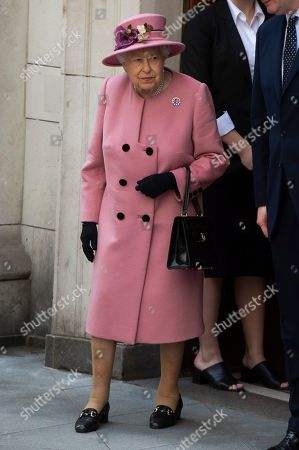 Stock Image of Queen Elizabeth II visiting King's College to open Bush House, the latest education and learning facilities on the Strand Campus.