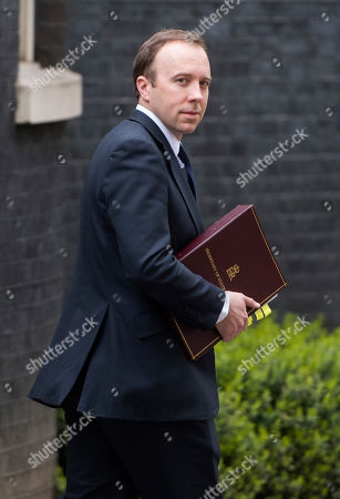Matthew Hancock, Secretary of State for Health and Social Care on Downing Street this afternoon.