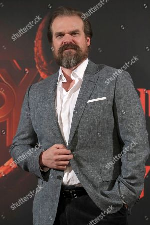 David Harbour attends the presentation of the reboot film 'Hellboy' in Madrid, Spain, 20 March 2019. The film, a new version of the Guillermo del Toro's famous saga, is directed by Neil Marshall and opens in Spanish cinemas on 17 May 2019.