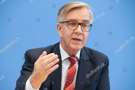 Stock Picture of The Left faction in the German parliament Bundestag co-chairman Dietmar Bartsch during a presser in Berlin, Germany, 20 March 2019. The Left party leaders introduce a new proposal to solve old-age poverty.