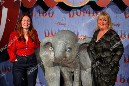 Valerie Damidot, right, and Roxanne Damidot pose during a photocall for the premiere of 'Dumbo' in Paris
