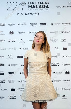 Charlotte Vega poses for the photographers during the presentation of the film 'La Banda' (The Band) as part of 22th Malaga Film Festival, in Malaga, southern Spain, 20 March 2019. The film competes in the official section of the festival running from 15 March to 24 March.