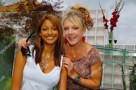 Hollyoaks' Actors Sarah Lawrence (left) And Helen Pearson Pictured In The Mersey Television Garden At The Royal Horticutural Society (rhs) Flower Show At Tatton Park In Knutsford Cheshire; Lawrence Plays Darlene And Pearson Plays Frankie In The Mersey Television Soap Shown On Channel Four.