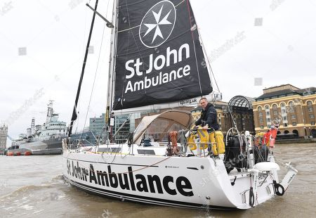Stock Image of British adventurer Sir David Hempleman-Adams sails towards the Tower Bridge to launch his attempt to sail solo to New York in London, Britain, 20 March 2019. Sir David's journey is to raise awareness of the St John Ambulance charity.