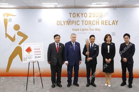 (L-R) Toshiaki Endo, Yoshiro Mori, Tadahiro Nomura, Miho Takeda, Tokujin Yoshioka