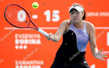 Evgeniya Rodina of Russia in action against Samantha Stosur of Australia during their match at the Miami Open tennis tournament in Miami, Florida, USA, 20 March 2019.