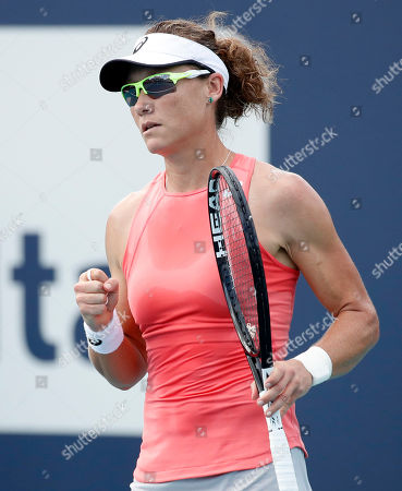 Samantha Stosur of Australia reacts during her match against Evgeniya Rodina of Russia during their match at the Miami Open tennis tournament in Miami, Florida, USA, 20 March 2019.
