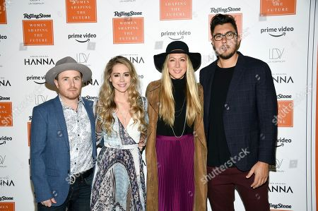 """Jason Reeves, Nelly Joy, Colbie Caillat, Justin Young. The Band """"Gone West"""" Jason Reeves, left, Nelly Joy, Colbie Caillat and Justin Young attend Rolling Stone's Women Shaping the Future brunch at The Altman Building, in New York"""