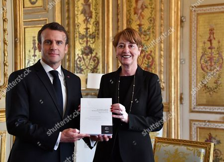 Stock Image of French President Emmanuel Macron meets General controller for prisons and detention centres Adeline Hazan, to deliver her annual report.