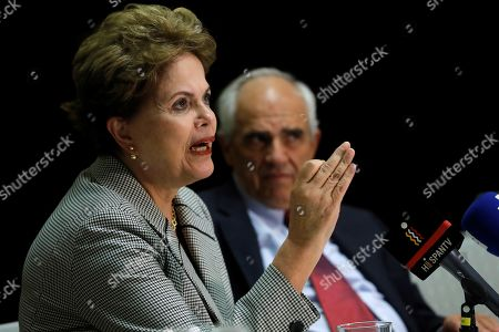 Former Brazilian President Dilma Rousseff (L) and former Colombian President Ernesto Samper (R) attend a debate on Human Rights in Latin America in Madrid, Spain, 20 March 2019.