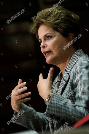 Former Brazilian President Dilma Rousseff delivers a speech during a debate on Human Rights in Latin America in Madrid, Spain, 20 March 2019.