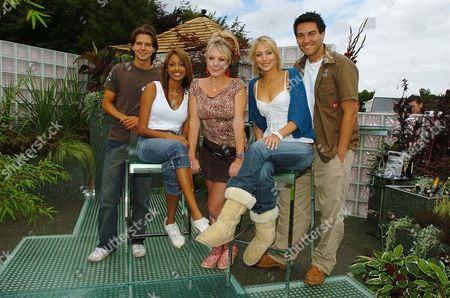 Hollyoaks' Actors (from Left) Guy Burnet Sarah Lawrence Helen Pearson Ali Bastian And Kevin Sacre Pictured In The Mersey Television Garden At The Royal Horticutural Society (rhs) Flower Show At Tatton Park In Knutsford Cheshire; Burnet Plays Craig Lawrence Plays Darlene Pearson Plays Frankie Bastian Plays Becca And Sacre Plays Jake In The Mersey Television Soap Shown On Channel Four.