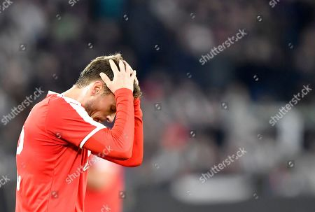 Serbia's Adem Ljajic reacts after missing a chance to score during a international friendly soccer match between Germany and Serbia at the Volkswagen Arena stadium in Wolfsburg, Germany