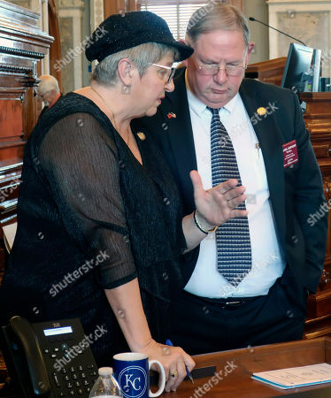 Brenda Landwehr, Dan Hawkins. Kansas House Health and Human Services Committee Chairwoman Brenda Landwehr, left, and Majority Leader Dan Hawkins, both R-Wichita, confer ahead of a debate on Medicaid expansion, at the Statehouse in Topeka, Kan. Landwehr and Hawkins oppose Democratic Gov. Laura Kelly's Medicaid expansion plan