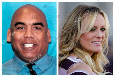 This combination of photos shows Columbus vice squad Officer Andrew Mitchell and adult film actress Stormy Daniels, whose real name is Stephanie Clifford. Ohio's capital city is disbanding its police vice unit in the wake of internal and FBI investigations and recent charges against Mitchell, alleging he forced two women to have sex with him under threat of an arrest. The unit came under scrutiny in 2018 when vice officers arrested Daniels at a Columbus strip club