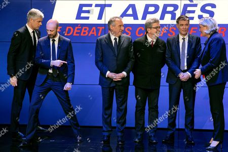 French political party chiefs (From L) La Republique en Marche's (LREM) Stanislas Guerini, Les Republicains' (LR) Laurent Wauquiez, MoDem's Francois Bayrou, La France Insoumise (LFI)'s Jean-Luc Melenchon, Parti Socialist (PS)'s Olivier Faure and Rassemblement National's (RN) Marine Le Pen, take their position for a picture ahead of a debate organised by French BFM TV private news channel in Paris, France, 20 March 2019.