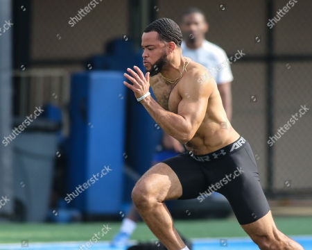 UCLA Bruins defensive back Nate Meadors (22) take off during 40 yard dash at the UCLA Pro Day at Spaulding Field in Westwood, CA on , 2019 (Photo by Jevone Moore)