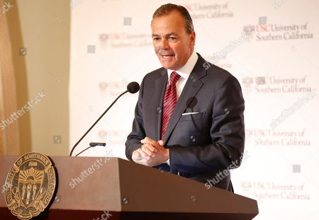 Rick Caruso, chairman of the University of Southern California Board of Trustees announces Carol Folt as the USC's 12th president in Los Angeles . The announcement comes a week after news broke of a massive college bribery scandal involving USC and other universities across the country. She will take office as USC's new president on July 1