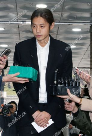 South Korean K-pop star Jung Joon-young speaks to the media at the Seoul District Court in Seoul, South Korea, 21 March 2019. The popstar was at court to attend a hearing after he admitted to secretly filming himself engaging in sexual activities with ten or more women and sharing the footage.