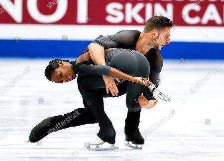 Vanessa James (front) and Morgan Cipres of France perform their free skating program during the Pairs skating event of the 2019 ISU World Figure Skating Championships in Saitama, Japan, 21 March 2019.