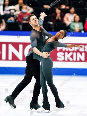 Vanessa James (R) and Morgan Cipres (L) of France perform their free skating program during the Pairs skating event of the 2019 ISU World Figure Skating Championships in Saitama, Japan, 21 March 2019.