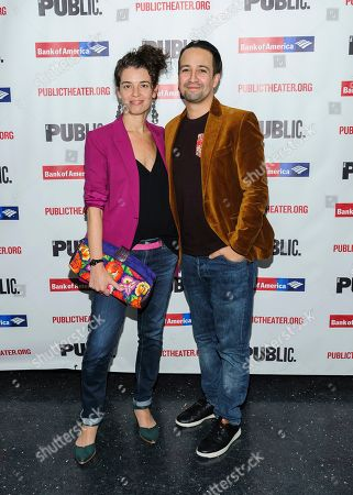 """Vanessa Nadal, left, and Lin-Manuel Miranda attend the opening night celebration for """"White Noise"""" at The Public Theater, in New York"""