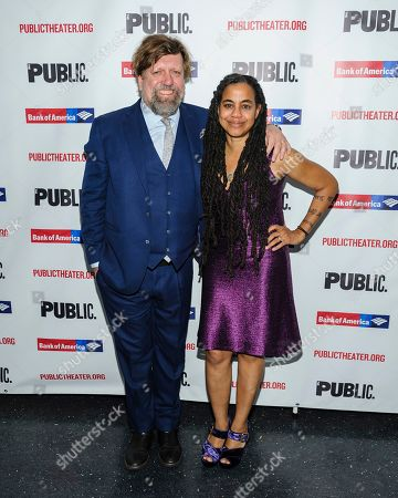 "Oskar Eustis, left, and Suzan-Lori Parks attend the opening night celebration for ""White Noise"" at The Public Theater, in New York"