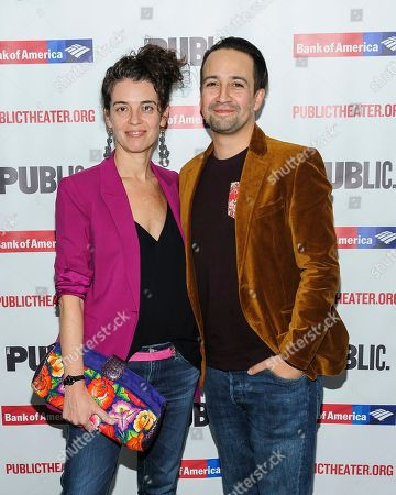 """Stock Image of Vanessa Nadal, Lin-Manuel Miranda. Vanessa Nadal, left, and Lin-Manuel Miranda attend the opening night celebration for """"White Noise"""" at The Public Theater, in New York"""