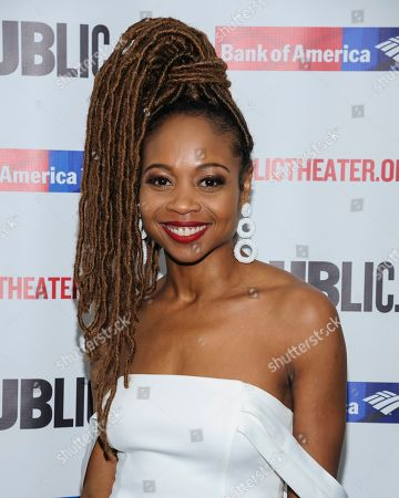 """Sheria Irving attends the opening night celebration for """"White Noise"""" at The Public Theater, in New York"""