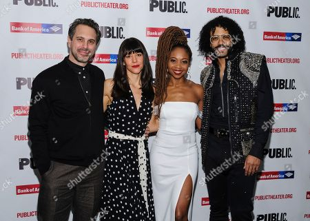 """Thomas Sadoski, from left, Zoe Winters, Sheria Irving and Daveed Diggs attend the opening night celebration for """"White Noise"""" at The Public Theater, in New York"""