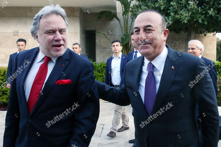 Foreign Minister of Turkey Mevlut Cavusoglu (R) welcomes Greek Foreign Affairs Minister Giorgos Katrougalos (L) before a meeting in Antalya, Turkey, 21 March 2019. Greek Foreign Minister is in Turkey on an one-day working visit.