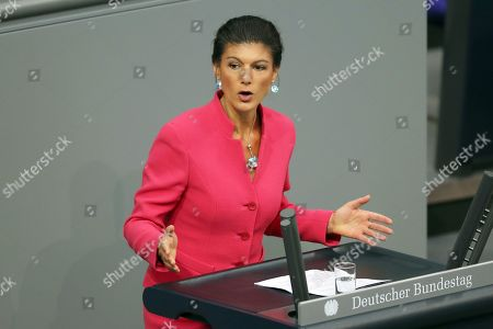 The Left party (Die Linke) factionco-chairwoman in the German parliament Bundestag Sahra Wagenknecht speaks during a session of the German parliament 'Bundestag' in Berlin, Germany, 21 March 2019. Members of the German parliament issued a declaration prior to the EU summit addressing a possible Brexit delay.