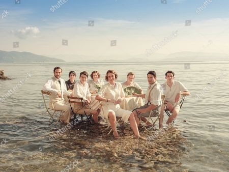 Stock Picture of Keeley Hawes as Louisa Durrell and L-R:  Yorgos Karamihos as Theodore, Anna Savva as Lugaretzia, Milo Parker as Gerry, Daisy Waterstone as Margo, Callum Woodhouse as Leslie, Alexis Georgoulis as Spiro and Josh O'Connor as Larry.