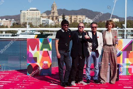 Film director Santi Amodeo (L) poses with actors Carlos Areces (2L), Oscar Martinez (2R) and Ingrid Garcia-Jonsson (R) during the presentation of the film 'Yo, mi mujer y mi mujer muerta' (lit. me, my wife and my dead wife) in the oficial section of Malaga International Film Festival in Malaga, Spain, 21 March 2019.