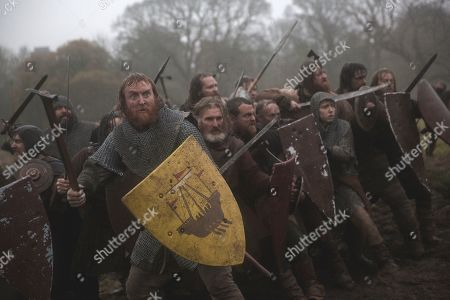 Tony Curran as Angus Og Macdonald, Lord of Islay and Stephen McMillan as Drew Forfar, Squire