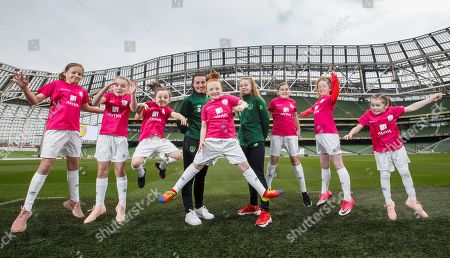 Stock Image of Media personality and mum of three Yvonne Connolly and her daughter Ali Keating officially kicked off the Aviva Soccer Sisters Easter Football Festival this morning at Aviva Stadium alongside Ireland international players Niamh Farrelly and Isibeal Atkinson. This year's programme has been revamped, now offering FREE camps over the Easter period (15th ñ 26th April) for girls aged between 6 ñ 14 years old. Over 6,000 girls from clubs around the country are expected to take part. See soccersisters.ie or #SafeToDream for details. Pictured today is Niamh Farrelly and Isibeal Atkinson with (L-R) Isabelle Weber (11), Pixie Roche (8), Caiomhe Nannery (8), Eden Murphy (9), Ciara Purcell (12), Ava Cummins (11) and Penny Roche (7)