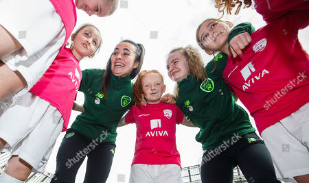 Media personality and mum of three Yvonne Connolly and her daughter Ali Keating officially kicked off the Aviva Soccer Sisters Easter Football Festival this morning at Aviva Stadium alongside Ireland international players Niamh Farrelly and Isibeal Atkinson. This year's programme has been revamped, now offering FREE camps over the Easter period (15th ñ 26th April) for girls aged between 6 ñ 14 years old. Over 6,000 girls from clubs around the country are expected to take part. See soccersisters.ie or #SafeToDream for details. Pictured today are Niamh Farrelly and Isibeal Atkinson