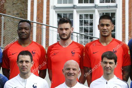 French national team football goalkeepers (L to R top) Steve Mandanda, Hugo Lloris and Alphonse Areola