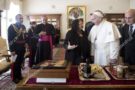 Stock Picture of Pope Francis receiving Maltese President Marie Louise Coleiro Preca for a private audience at the Vatican