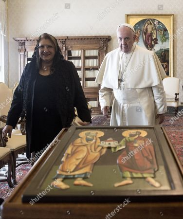 Stock Image of Pope Francis receiving Maltese President Marie Louise Coleiro Preca for a private audience at the Vatican